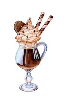 Cocktail di cioccolato dipinto ad acquerello con biscotti e cannucce caffè con latte e panna in un bicchiere