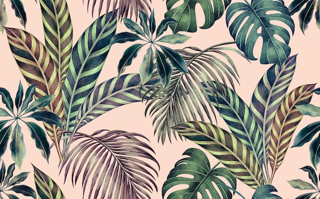 La pittura ad acquerello foglie tropicali colorate seamless pattern