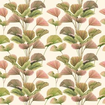 La pittura ad acquerello colorato tropicale foglie di palma seamless sfondo pattern.