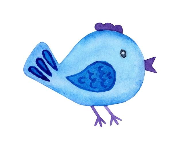 Pittura ad acquerello doodle uccello blu cartone animato stile cartone animato uccello carino elemento decorativo colorato