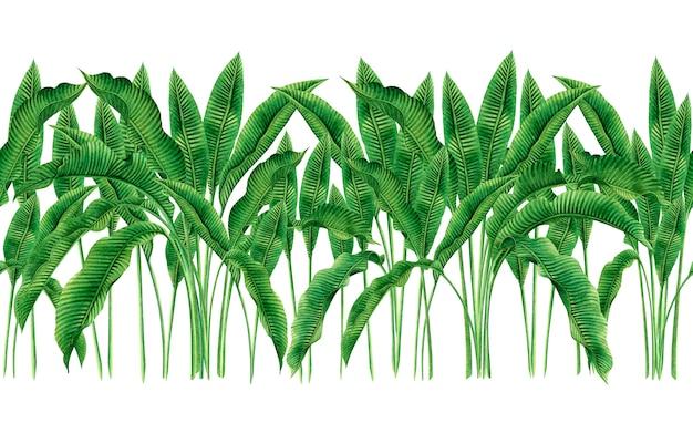 La pittura ad acquerello foglie verdi seamless pattern sfondo.
