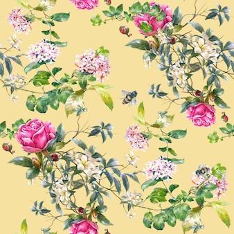 Pittura ad acquerello di foglie e fiori, modello senza cuciture su giallo crema