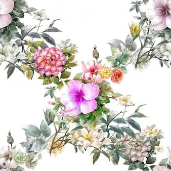 La pittura ad acquerello di foglie e fiori, seamless pattern su sfondo bianco