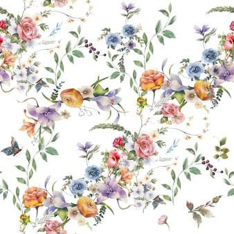 Pittura ad acquerello di foglie e fiori, modello senza soluzione di continuità su sfondo bianco