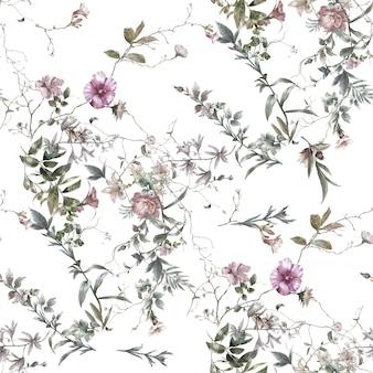 Pittura dell'acquerello della foglia e dei fiori, modello senza cuciture su bianco
