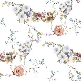 Pittura dell'acquerello del reticolo senza giunte di foglie e fiori su bianco