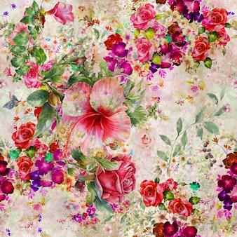 Pittura dell'acquerello del reticolo senza giunte di foglie e fiori
