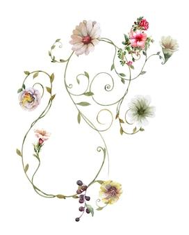 Pittura ad acquerello di foglie e fiori su bianco