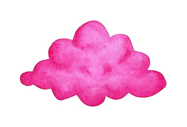 Dipinto ad acquerello nuvola rosa doodle fantasy land clima favoloso un mondo magico