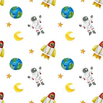 Concetto senza cuciture del modello della pittura dell'acquerello del pianeta della luna della stella dell'astronauta dello spazio