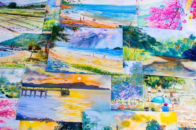 Opere d'arte di dipinti ad acquerello di una fotografia che include ricordi.