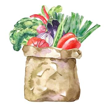 Sacchetto di carta dell'acquerello con verdure e alimenti biologici