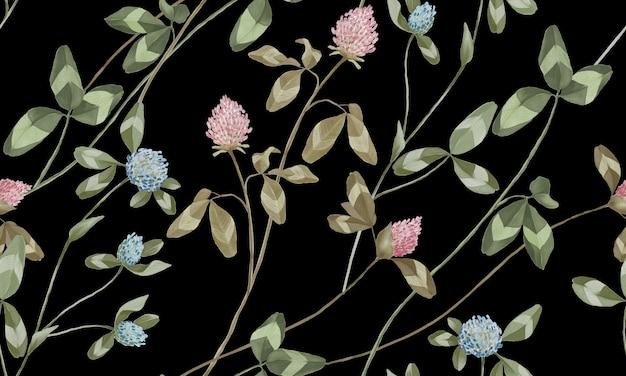 Acquerello pastello rosa e fiori blu con motivo a foglie verdi isolato su sfondo nero