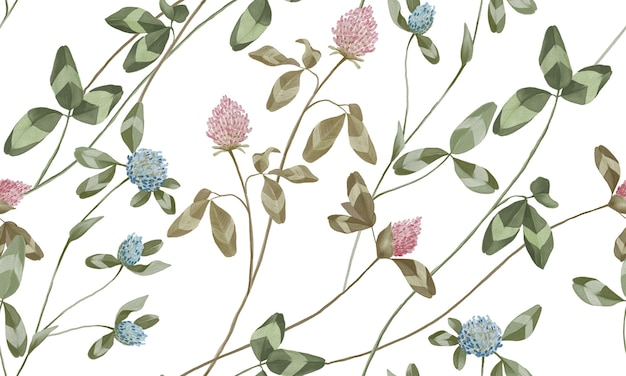 Acquerello pastello rosa e fiori blu con foglie verdi pattern isolato su sfondo bianco