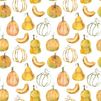 Reticolo dell'acquerello di zucche arancioni. fondo di ringraziamento del raccolto della zucca. illustrazione d'autunno.
