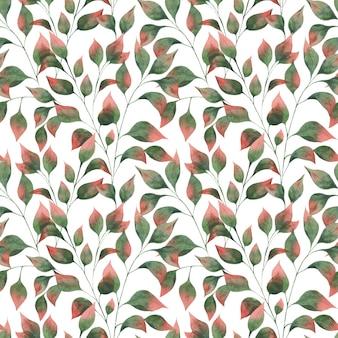 Modello acquerello con rami di foglie autunnali, foglie verdi con punte rosse su sfondo bianco.