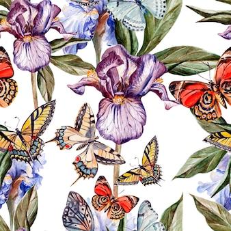 Modello acquerello con bellissime farfalle e fiori iris. illustrazione
