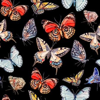 Modello acquerello con bellissime farfalle. illustrazione