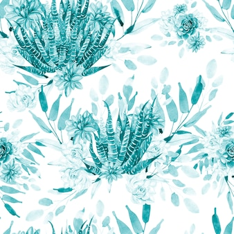 Modello acquerello con cactus e piante grasse