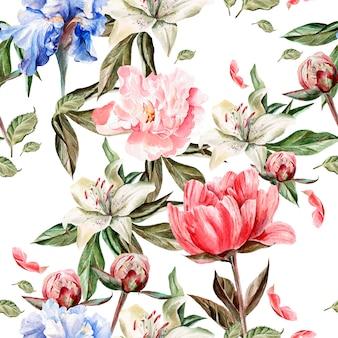 Modello acquerello con fiori iris, peonie e gigli, boccioli e petali. illustrazione