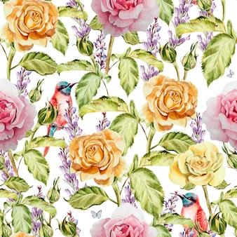 Modello acquerello con fiori rose, boccioli, lavanda e uccelli. illustrazione
