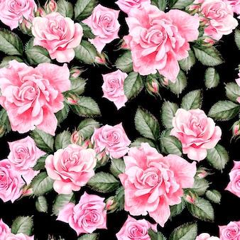Reticolo dell'acquerello con fiori di peonia e rose. illustrazione