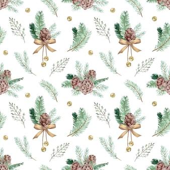 Modello acquerello con rami di pino, coni e campane tintinnanti. fondo senza cuciture della foresta di inverno. motivo botanico di natale