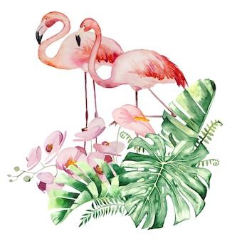 Acquerello fenicottero rosa, foglie tropicali e fiori bouquet design illustrazione isolata per matrimonio stazionario, saluti, carta da parati, moda, poster