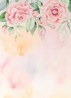 Acquerello fiori rosa e foglie verdi carta di confine, romantica illustrazione pastello con sfondo ad acquerello. per matrimonio, auguri, carta da parati, moda, poster