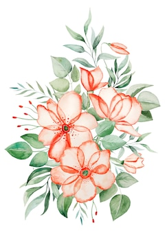 Illustrazione del mazzo dei fiori rosa dell'acquerello e delle foglie verdi isolata