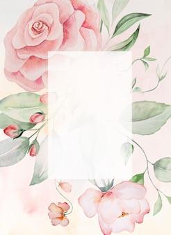 Acquerello fiori rosa e foglie verdi cornice carta, romantica illustrazione pastello con sfondo acquerello. per matrimonio, auguri, carta da parati, moda, poster