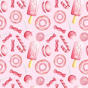 Acquerello rosa cibo dolce su sfondo rosa senza cuciture caramelle ripetere stampa carino dolci ornamento per carta da parati tessile carta da imballaggio imballaggio menu caffè rivestimento design e decorazione