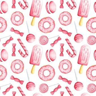 Cibo dolce rosa dell'acquerello sul reticolo senza giunte del fondo bianco. stampa di caramelle. simpatico ornamento di dolci per tessuti, carta da parati, carta da imballaggio, imballaggi, menu, caffè, rivestimento, design e decorazione.