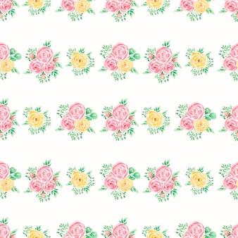 Modello senza cuciture rosa e giallo dell'acquerello carta bouquet floreale, fiori estivi