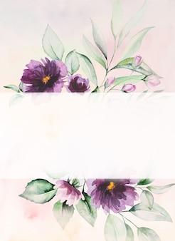 Fiori viola dell'acquerello e foglie verdi carta illustrazione romantica con sfondo ad acquerello. per matrimonio, auguri, carta da parati, moda, poster