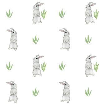 Reticolo senza giunte dell'acquerello coniglio, simpatico coniglietto