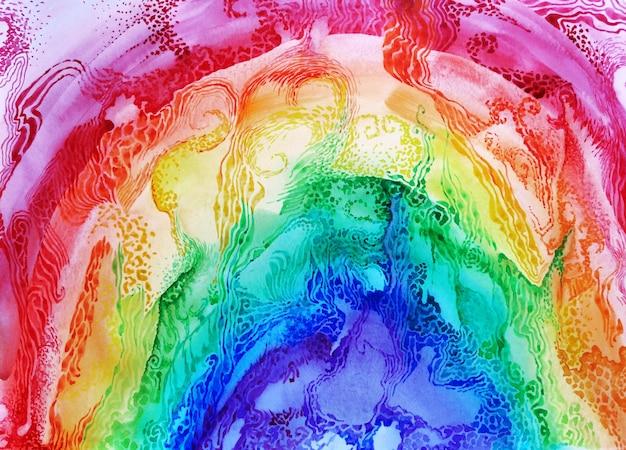Priorità bassa del cielo arcobaleno dell'acquerello. disegno di vernice pennello texture. design artistico colorato in tessuto vivace. illustrazione di colore brillante di concetto di felicità tessile per bambini.
