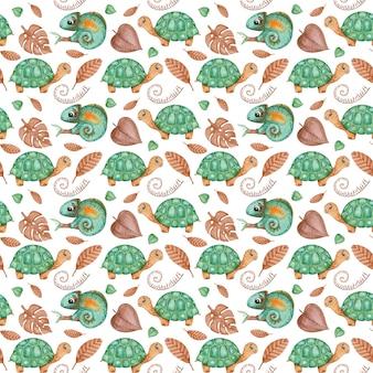 Reticolo senza giunte dell'acquerello rettili, modello tropicale, tartaruga verde, motivo ripetuto camaleonte