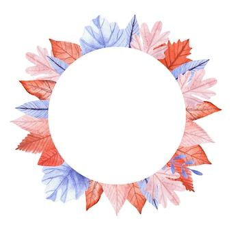 Cornice rotonda acquerello di foglie autunnali arancioni e blu.