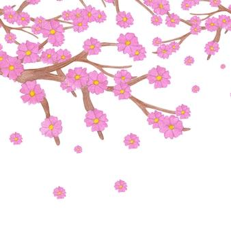 Ramo di sakura dell'acquerello con fiori che sbocciano e copia spazio