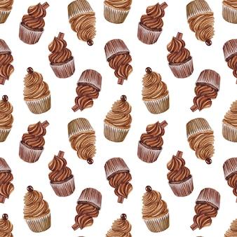 Priorità bassa senza giunte dell'acquerello con cupcakes al cioccolato