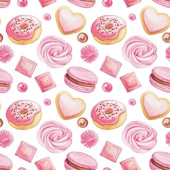 Priorità bassa senza giunte dell'acquerello con dolci rosa. macarons, ciambelle e caramelle disegnati a mano su un bianco
