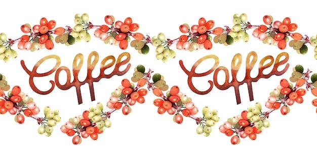 Bordo senza giunte dell'acquerello con attributi di caffè e caffè