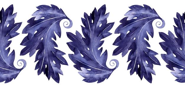 Bordo senza giunte dell'acquerello con una pianta di acanto stilizzata. foglie, ramoscelli e fiori