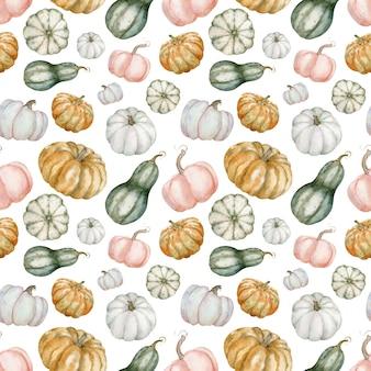 Reticolo senza giunte dell'acquerello di zucche colorate. sfondo autunnale. ringraziamento, illustrazione botanica di halloween - zucche bianche, verdi, arancioni.