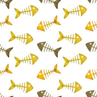 Scheletro di pesce felice halloween senza cuciture dell'acquerello su sfondo bianco