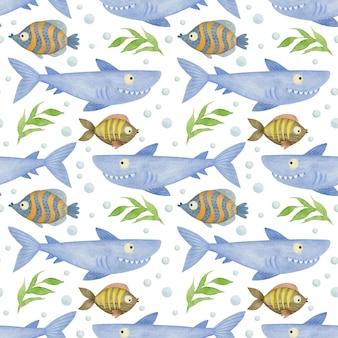 Acquerello senza cuciture amici del mare squalo pesce alga