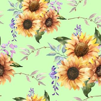 Acquerello seamless pattern wihte girasoli.
