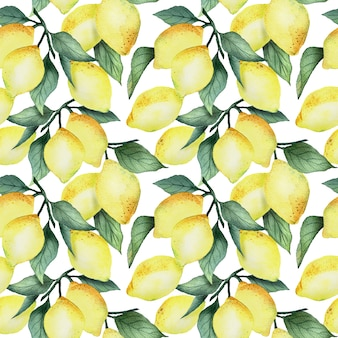 Reticolo senza giunte dell'acquerello con limoni gialli luminosi e foglie su uno sfondo bianco, design estivo luminoso.