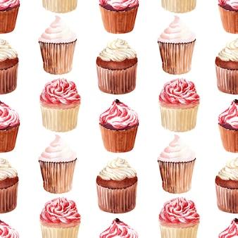 Reticolo senza giunte dell'acquerello con panini, cupcakes alla panna e fragole mature, lamponi e ciliegie